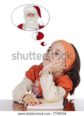 adorable girl studying thinking about santa claus a over white background