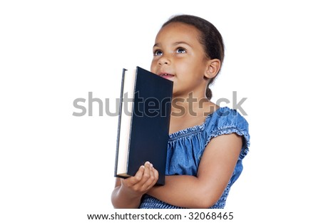 adorable girl studying with a book a over white background - stock photo