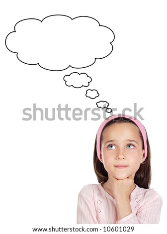 Adorable girl thinking a over white background