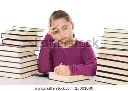 Adorable girl tired with many books on a over white background
