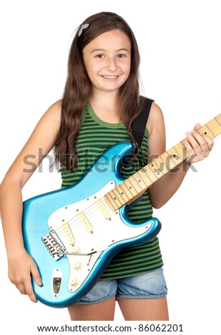 Adorable girl whit electric guitar on a over white background - stock photo