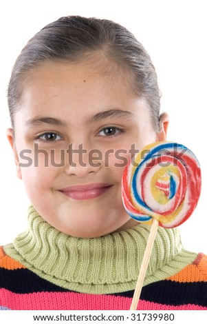 Adorable girl with a lollipop on a over white background - stock photo