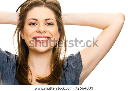 Adorable girl with big smile, holding his hands behind his head - stock photo