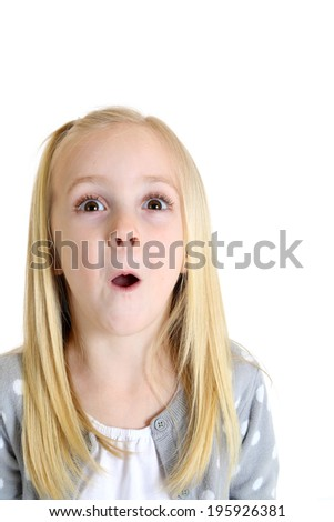 adorable girl with excited or surprised expression - stock photo