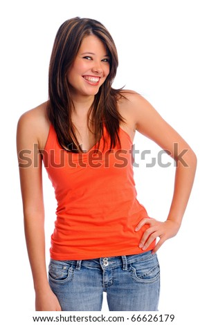 Adorable girl with friendly smile isolated on white - stock photo