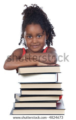 adorable girl writing a over white background