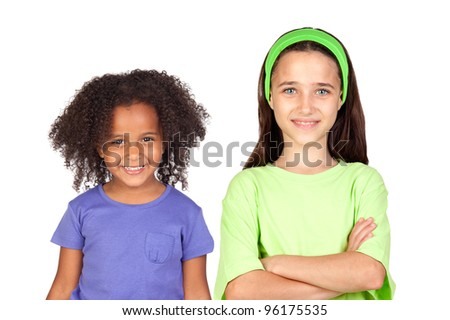 Adorable girls of different races isolated on white background - stock photo