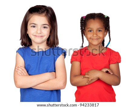 Adorable girls with crossed arms isolated on white background - stock photo