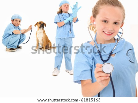 Adorable group of 7 year old children dressed as veterinarian surgeons over white background.