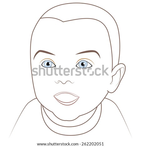 Adorable happy baby with blue eyes - stock photo