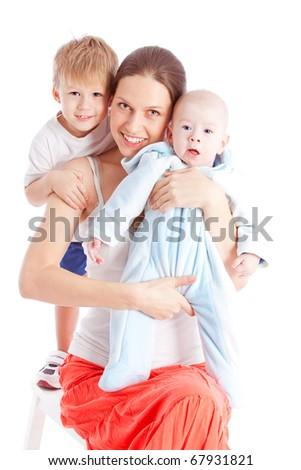 Adorable happy family - stock photo