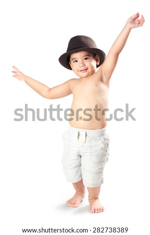 Adorable happy  little asian boy, Isolated over white - stock photo
