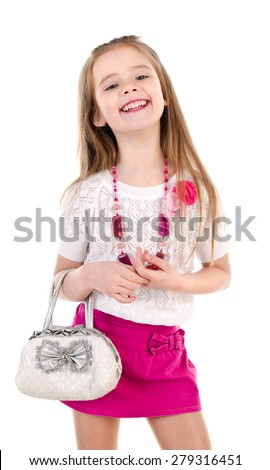 Adorable happy little girl posing with bag isolated on a white - stock photo