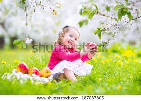 Adorable happy toddler girl with curly hair and flower crown wearing a red dress enjoying picnic in a beautiful blooming fruit garden with white blossoms on apple trees eating healthy snack - stock photo