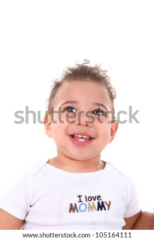 Adorable Infant Baby Boy on White Background - stock photo