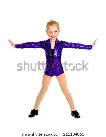 Adorable  junior child tap dancer student in purple recital costume - stock photo