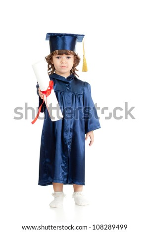 Adorable kid girl in academician clothes with roll - stock photo