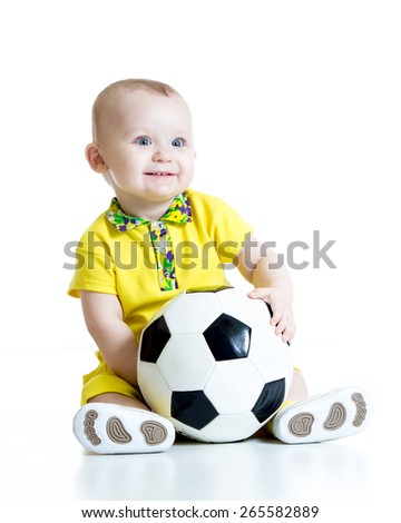 adorable kid with football isolated white background - stock photo