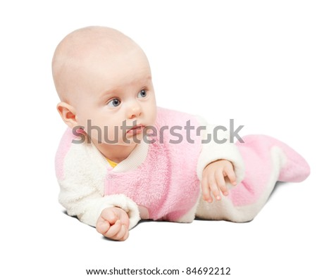adorable little baby, isolated on white background - stock photo