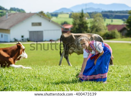 Adorable little  bavarian girl on a country field with cow in Germany - stock photo