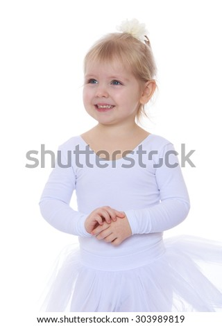 Adorable little blonde girl in a ballerina costume . The girl was only three years-Isolated on white background - stock photo