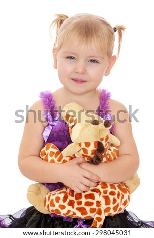 Adorable little blonde girl with pigtails on her head hands hugging her favorite stuffed toy-Isolated on white - stock photo