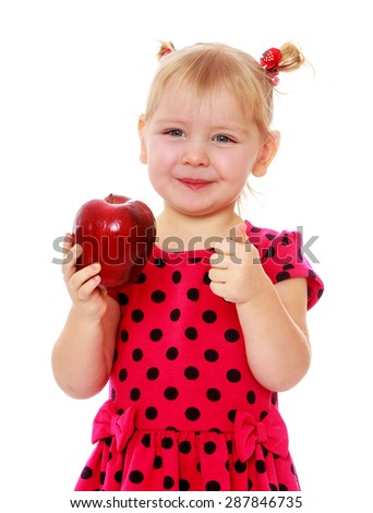 Adorable little blonde with a red Apple in his hand , close-up-isolated on white background - stock photo