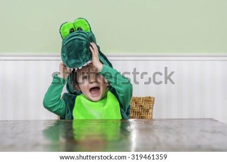 Adorable little boy in a crocodile suit - stock photo