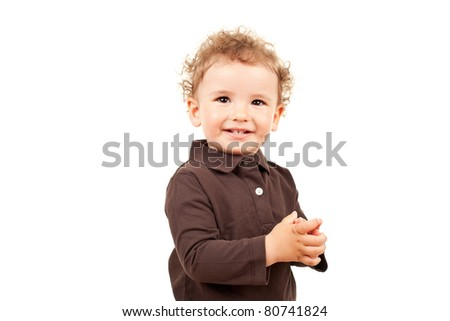 adorable little boy smiling, isolated on white - stock photo
