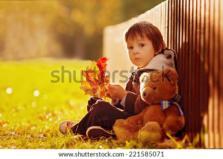 Adorable little boy with teddy bear in the park on an autumn day in the afternoon, sitting on the grass
