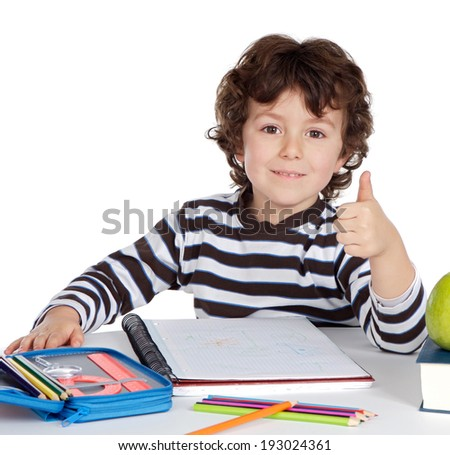 Adorable little child in the school isolated on a white background