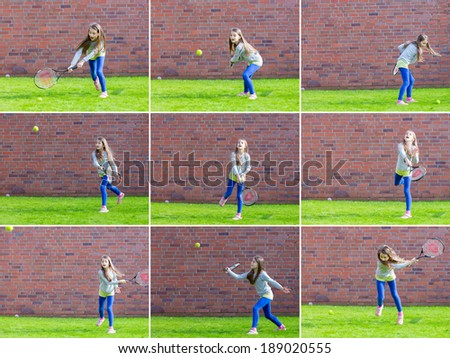 Adorable little child playing tennis.Collage of collection - stock photo