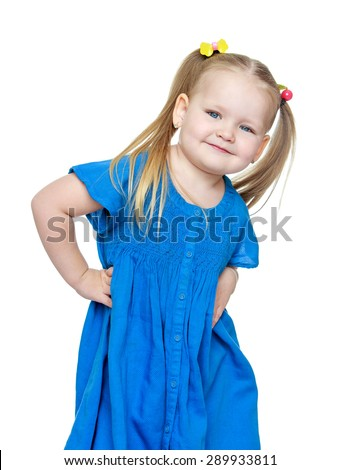 Adorable little chubby girl blonde, close-up - isolated on white background - stock photo