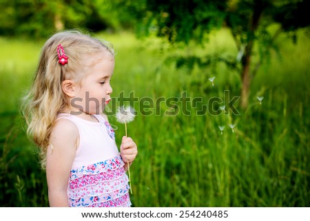 Adorable little girl blowing off dandelion on a summer day - stock photo