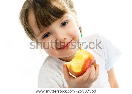 adorable little girl eating an apple, against white background