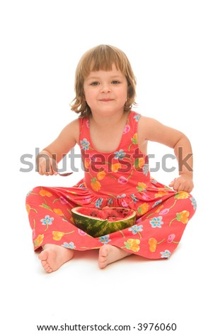 adorable little girl eating tasty melon, isolated on white - stock photo