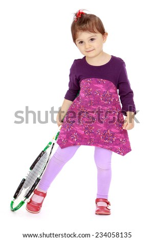 Adorable little girl holding a big tennis racket .Isolated on white background. - stock photo