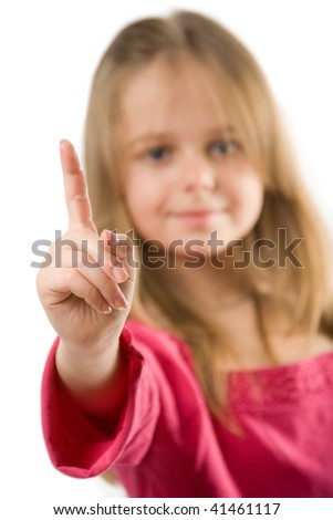 Adorable little girl holding index finger up, isolated on white - stock photo