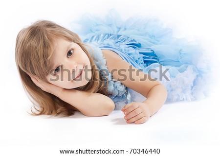 adorable little girl in blue pettiskirt  on white background - stock photo
