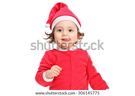 Adorable little girl in Christmas costume isolated on white background - stock photo