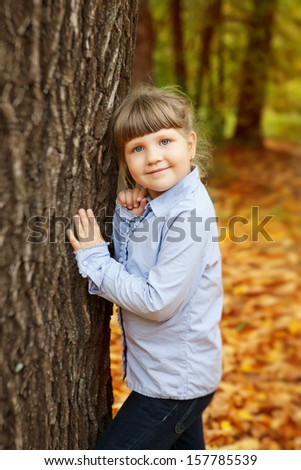 adorable little girl in the beauty park