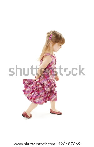 Adorable little girl. Isolated on white background - stock photo