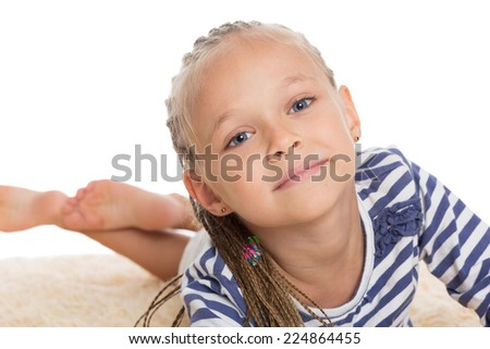 Adorable little girl isolated on white. Girl six years.