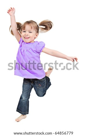 Adorable little girl jumping in air. isolated on white background - stock photo