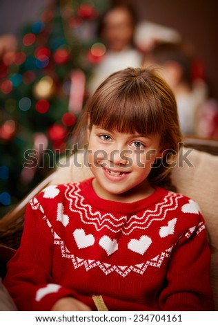 Adorable little girl looking at camera - stock photo