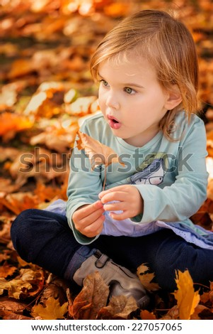 Adorable little girl play with autumn leaves in a park  - stock photo