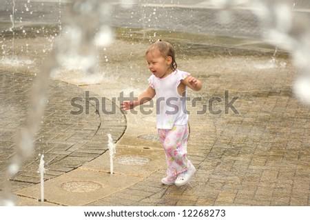 Adorable Little Girl Playing - stock photo