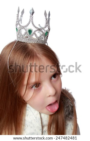 Adorable little girl princess hamming to the camera  - stock photo