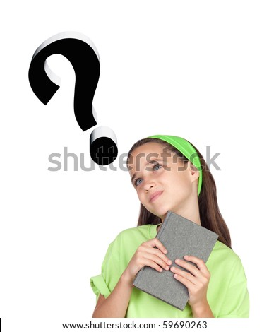 Adorable little girl questioning something with book isolated on white background - stock photo