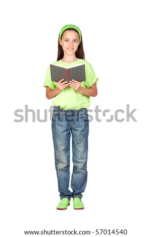 Adorable little girl reading a book isolated on white background